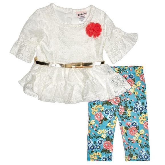 Little Lass Other - Little Lass Lace Top & Floral Capri Leggings